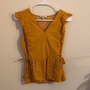Yellow-orange capped sleeve top Madewell